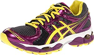 Asics - Womens Running Gel-Nimbus14 Shoes In Onyx/White/Plum, Size: 7 B(M) US Womens, Color: Onyx/White/Plum