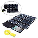 SUNKINGDOM™ 52W 12V Folding Solar Panel Charger With Dual output (12V DC & 5V USB) Portable Solar Battery Charger for Laptops,Tablets,iPhones,iPads,iPod,Samsung Galaxy Phones,Kindle,Bluetooth,and More Other USB Device (Black)