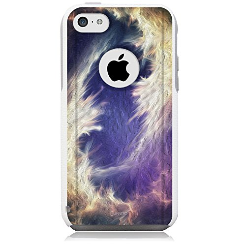 Unnito iPhone 5c Hybrid Case, [Dual Layer] *1 Year Warranty* Case Protective [Custom] Commuter Protection Cover (White - Nebula Oil Painting)
