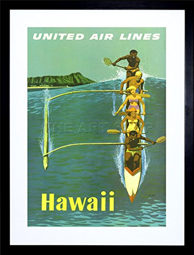 9x7-united-airline-canoe-hawaii-pacific-vintage-ad-framed-art-print-f97x1526