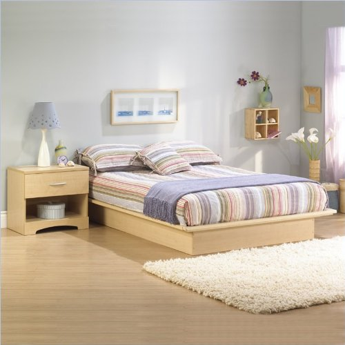 South Shore Copley Light Maple Wood Platform Bed 3 Piece Bedroom Set - Full front-886094