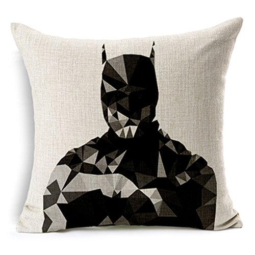 "SilkCrane Cuscino, Geometric Batman Printed Cotton Linen Decorative Throw Pillow Cover, 17.7"" x 17.7"""
