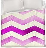 Thumbprintz Duvet Cover, Full/Queen, Pink Ombre Chevron Stripe