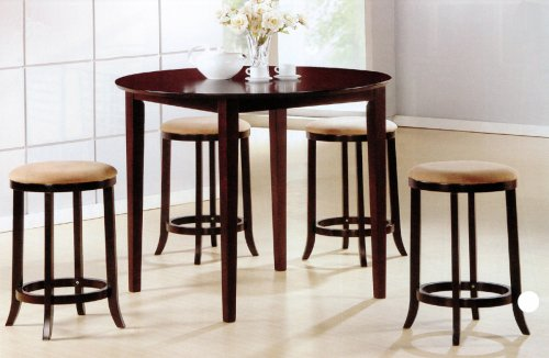 dining room sets 5 pcs round counter dining table set. Black Bedroom Furniture Sets. Home Design Ideas