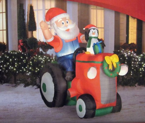 Gemmy Santa & Penguin on Tractor Christmas Airblown