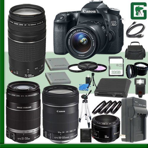 Canon Eos 70D Digital Slr Camera Kit With 18-55Mm Is Stm Lens And Canon Ef 75-300Mm Iii Lens And Canon 50Mm F/1.8 Lens And Canon 55-250Mm Lens And Canon 18-135Mm Lens + 32Gb Green'S Camera Package