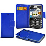 (Blue) Blackberry Curve 8320 Super Thin Faux Leather Suction Pad Wallet Case Cover Skin With Credit/Debit Card Slots By Spyrox