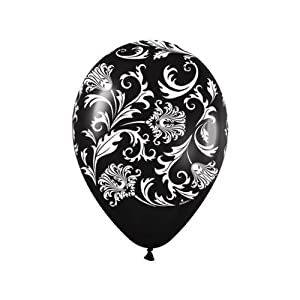 Amazon.com: Black Damask White Print Latex Balloons (6) party