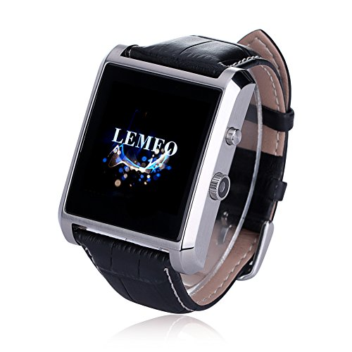 LEMFO Bluetooth Leather Smart Watch with Camera IPS Screen 360mAh Battery Waterproof for IOS iPhone Android Smartphone (Silver)