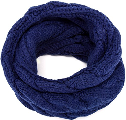 MOTINE Women's Winter Thick Ribbed Knit Warm Circle Loop Infinity Scarf (Navy Blue)