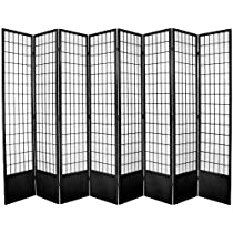 Hot Sale Oriental Furniture Window Pane 7-Feet Tall Shoji Screen -Black 8 panel, B