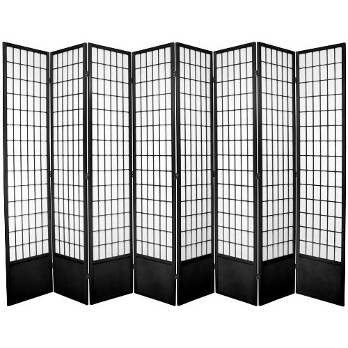 Oriental Furniture Window Pane 7-Feet Tall Shoji Screen -Black 8 panel, B