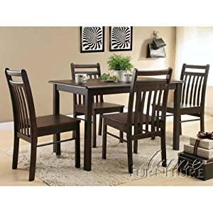5pc Dinette Set with Sleek Design in Cappuccino Finish