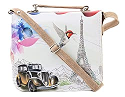 Felicita Women's Sling Bag(Beige,SB00024CARBG)
