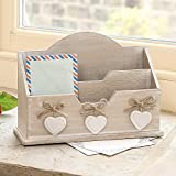 Shabby Chic Wooden Letter Desk Tidy with White Hanging Hearts 27 x 18.5 x 9.5cm