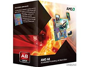 AMD A8-3870K APU with AMD Radeon 6550 HD Graphics 3.0GHz Unlocked Socket FM1 100W Quad-Core Processor - Retail - AD3870WNGXBOX