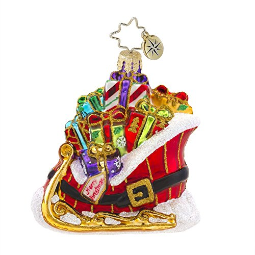Christopher Radko Buckle up for a Gift Ride Gem Glass Christmas Ornament