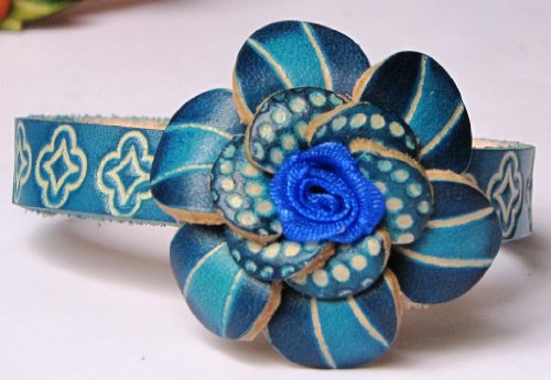 Flower Blue And Turquoise On Turquoise Band All Hand Worked Leather Bracelet - Adjustable Size