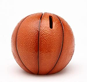 Cosmos 10514 Fine Porcelain Basketball Piggy Bank, 4-1/4-Inch