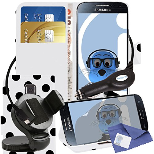 iTALKonline Samsung Galaxy S5 SV Mini SM-G800F White Black Polka Dots PU Leather Executive Multi-Function Wallet Case Cover Organiser Flip with Credit / Business Card Money Holder Integrated Horizontal Viewing Stand, 3 Layer LCD Screen Protector, 360 Degrees Rotating Case Compatible In Car Windscreen Suction Mount Holder and 1000 mAh Coiled In Car Charger LED Indicator and Overload Protection