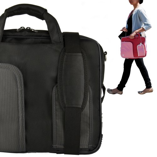 Stylish ASUS K53U 16 Inch Notebook Accessories Pindar Shoulder Bag with Removable Shoulder Strap in Jet Black