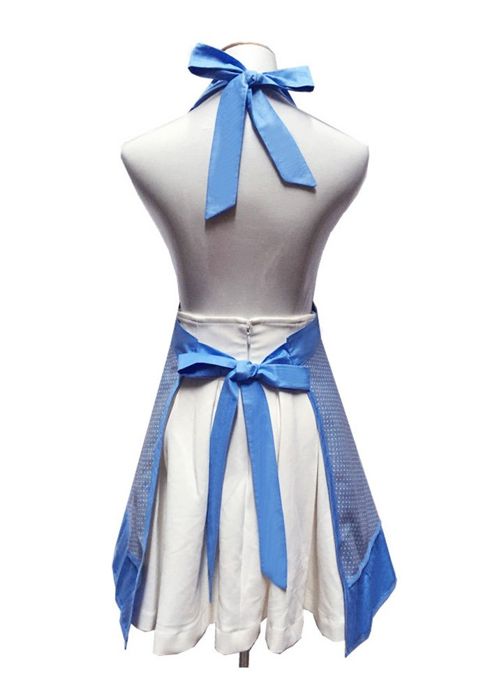Cute White Dot Women Aprons Fashion for Girls Vintage Home Cooking Retro Beautiful Apron for Gift, Blue 2