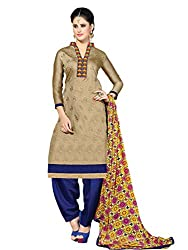 Dainty Beige & Blue Coloured Embroidered Dress Material