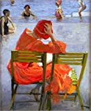 Canvas print 70 x 90 cm: Girl in a red dress by Sir John Lavery / Bridgeman Art Library - ready-to-hang wall picture, stretched on canvas frame, printed image on pure canvas fabric, canvas print