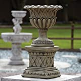 Large Garden Planter - Woven Stone Plant Pot on Plinth