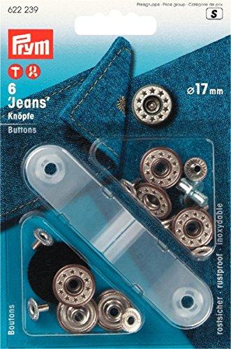 Prym 622239 NF-Jeansknopf Sterne offen, 17 mm, altmessing /...