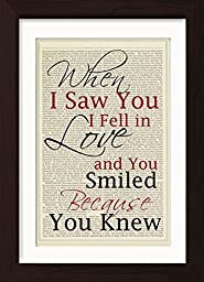 When I Saw You I Fell in Love, and You Smiled Because You Knew Quote By Arrigo Boito Ready To Frame Mounted /Matted Dictionary Art Print