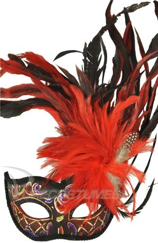 Red Feathered Venetian Masquerade Carnival Mardi Gras Fantasy Mask