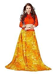 TreadIndia Yellolw Bhagalpuri Designer Lehenga Cholis