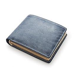 DOLGED ブライドルレザーで製作した メンズ 二つ折り財布 財布 本革 (ネイビー)
