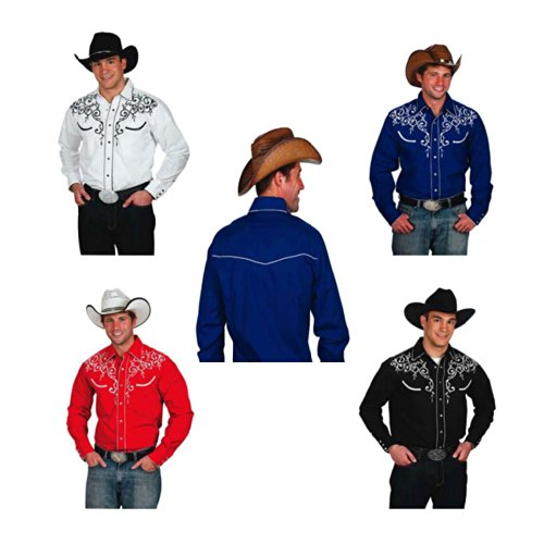 Western Express Men's Cotton Blend Retro Leaf Embroidery Shirt 1