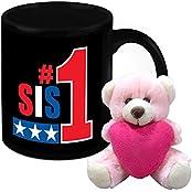 Mug For Sister - HomeSoGood The Most Beautiful Sister White Ceramic Coffee Mug With Teddy - 325 Ml