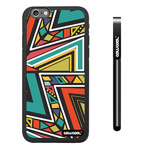 Cowcool® Apple Iphone 6 4.7 Inch Soft Silicone Colorful Bohemian Triangle Totem Black Shell Single Layer Protective Case (#5)