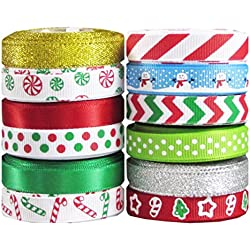 "60yd (12x5yd) 3/8"" Christmas, Holiday, Winter Grosgrain Ribbon for Hair Bows, Gift Wrapping..."