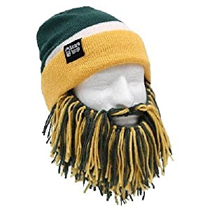 NFL Green Bay Packers Beanie with Barbarian Beard, Green Yellow by Beard Head