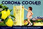 Corona Riverside County Corona Cooler Little Girl Lemon Citrus Fruit Crate Label Art Print