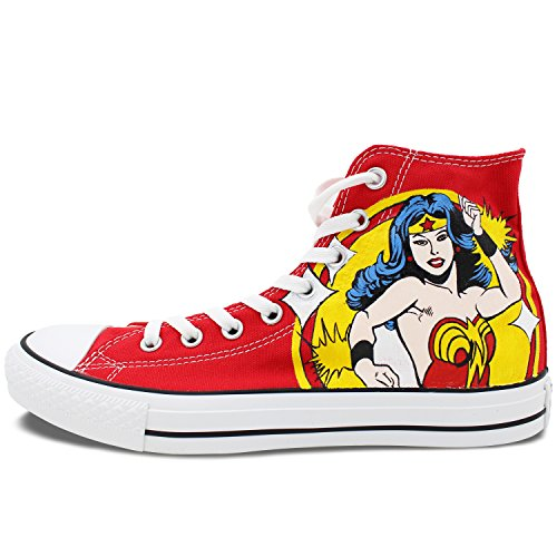 High Top Converse Shoes Womens Wonder Woman Hand Painted Custom All Star Canvas Sneaker