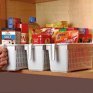 Set of 2 Cupboard Tamer Storage Cabinet Organizer With Handle Grip