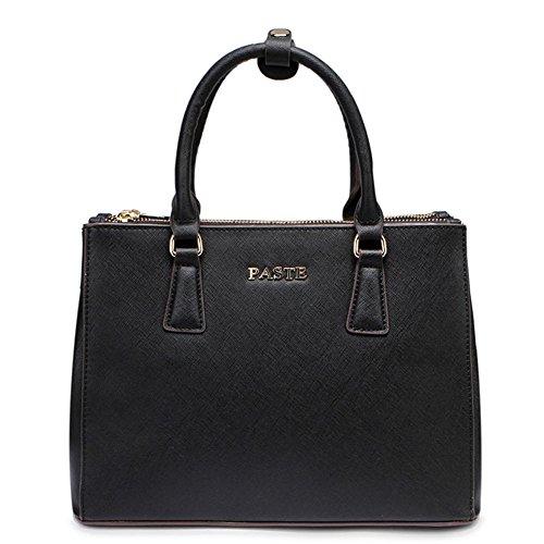 Top Layer Leather Clutch Cross-Body Shoulder Wristlet Handbag020706 (Black)