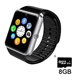 Smart Watch,SHONCO Bluetooth SmartWatch Watch Phone with HD Display SIM/TF Card Slot Sync to Samsung ,LG,HTC,Sony and Other Android Smartphones (Silver) + 8GB Micro SD Card