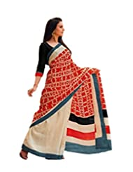 Abida Printed Bhagalpuri Art Silk Off White And Red Color Saree