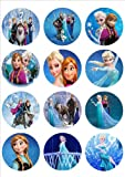 Edible Cupcake Toppers Elsa and Anna