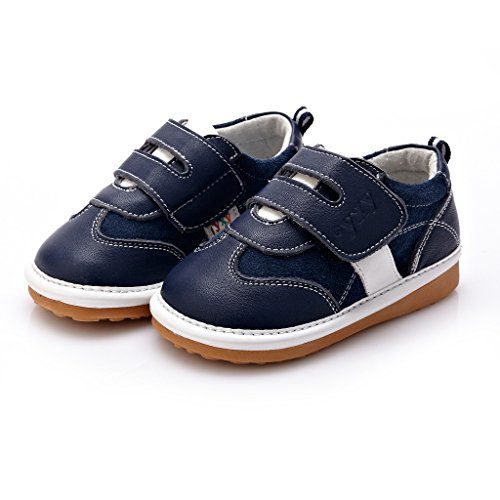 YXY Toddler Baby Toddler Boys Squeaky 100% Leather Shoes Navy Blue / White UK 4 / EUR 20