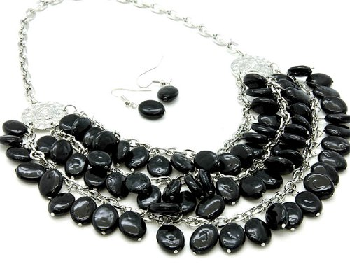 NECKLACE AND EARRING SET BEAD 2 1 BLACK Fashion Jewelry Costume Jewelry fashion accessory Beautiful Charms