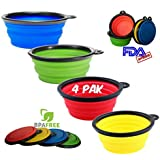 Mr. Peanut's Premium Pop-Up Collapsible Design Travel Dog Bowls * Set of 4 Colors * Portable Feeding & Water Bowl for Pets, Hikers, Climbers, Backpackers & Campers * BPA Free