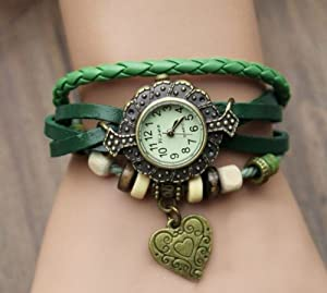 Top Seller Women Ladies Weave Wrap Bracelet Heart Pendant Quartz Retro Wrist Watch